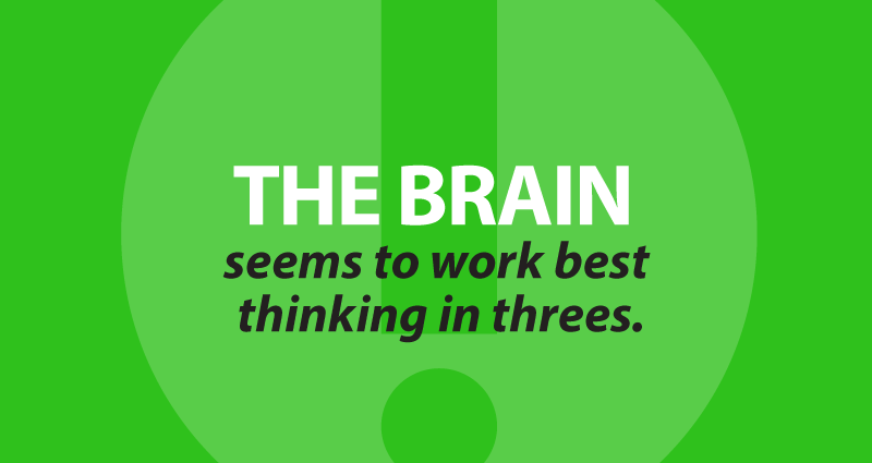 The brain seems to work best thinking in threes.
